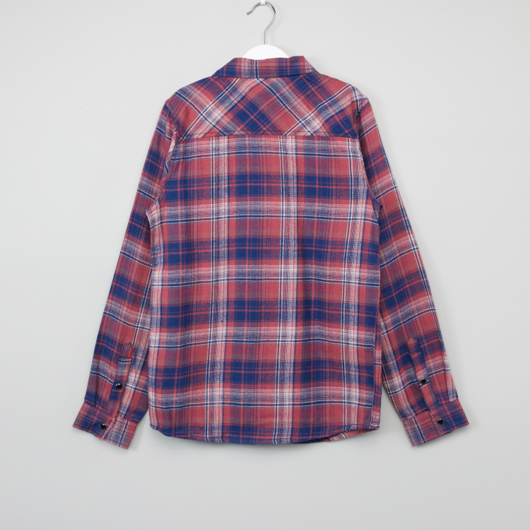 Posh Chequered Long Sleeves Shirt with Pocket Detail