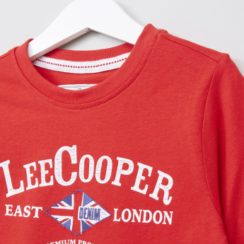 Lee Cooper Graphic Printed Round Neck Long Sleeves T-Shirt