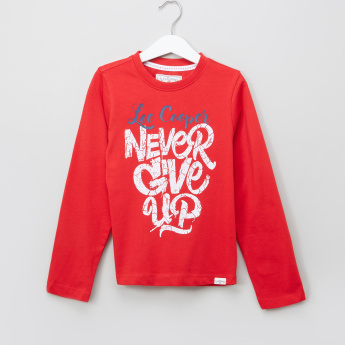 Lee Cooper Printed Round Neck Long Sleeves T-Shirt