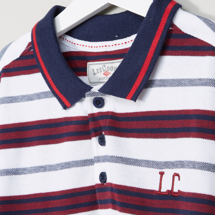 Lee Cooper Striped Polo Neck Short Sleeves T-Shirt
