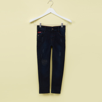 Lee Cooper Distressed Full Length Jeans with Button Closure