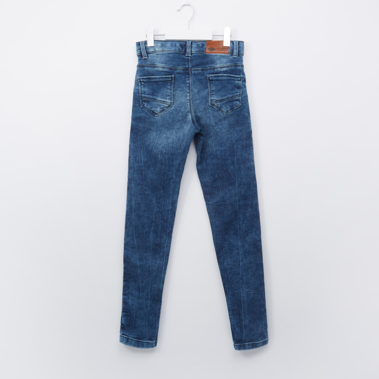 Lee Cooper Full Length Jeans with Pocket Detail and Button Closure