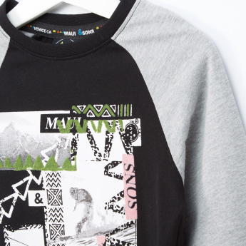 MAUI and Sons Graphic Printed Raglan Sleeves T-Shirt