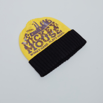 Mickey Mouse Printed Beanie Cap with Scarf