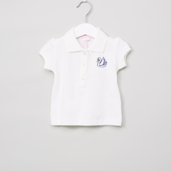 Juniors Embroidered Polo Neck T-Shirt