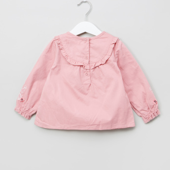 Juniors Embroidered Ruffle Detail Top