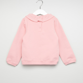 Juniors Printed Ruffle Detail Sweat Top