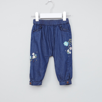 Juniors Embroidered Denim Pants with Elasticised Waistband