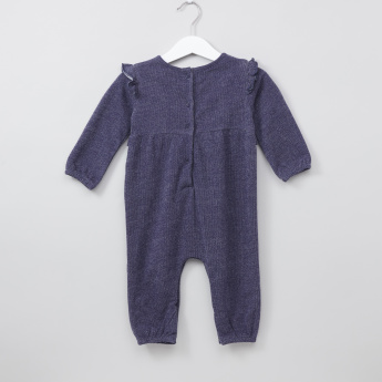 Juniors Textured Frill Detail Long Sleeves Sleepsuit