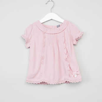 Giggles Textured Lace Detail Top
