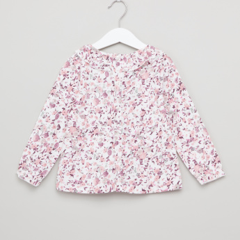 Giggles Floral Printed Ruffle Detail Long Sleeves Top