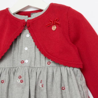 Giggles Embroidered Dress with Long Sleeves Bolero
