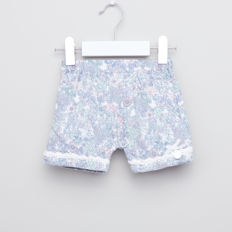 Giggles Printed Lace Detail Shorts with Closed Feet Tights