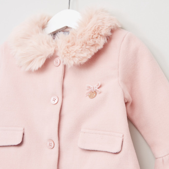 Giggles Long Sleeves Plush Detail Coat