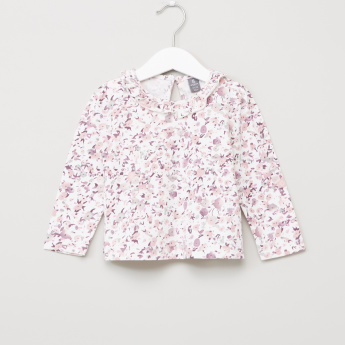 Giggles Floral Printed T-Shirt with Textured Dungarees