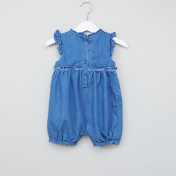Giggles Denim Ruffle Detail Romper with Embroidery
