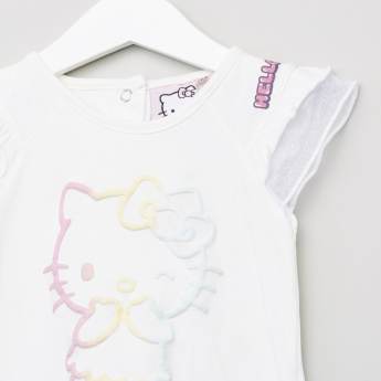 Hello Kitty Printed Frilled Sleeves Top