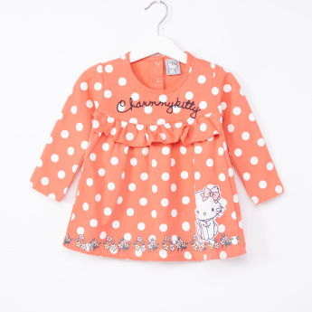 Hello Kitty Printed Round Neck Long Sleeves Dress