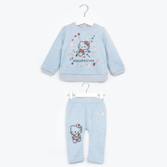 Hello Kitty Printed Sweatshirt and Pyjama Set