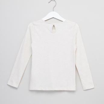 Juniors Lace Detail Long Sleeves Top