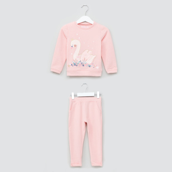 Juniors Printed Long Sleeves Sweatshirt and Full Length Pyjama Set