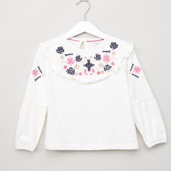 Juniors Embroidered Long Sleeves Top