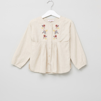 Juniors Embroidered Long Sleeves Shirt