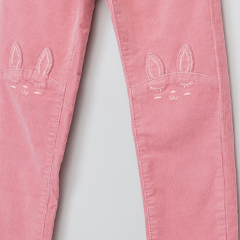 Juniors Textured Pants with Bunny Applique and Button Closure