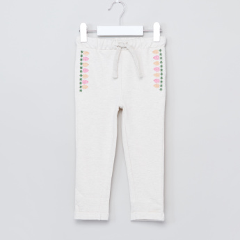Juniors Embroidered Pants with Drawstring