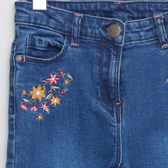 Juniors Embroidered Full Length Jeans with Pocket Detail