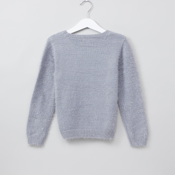 Juniors Textured Round Neck Long Sleeves Sweater