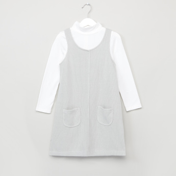 Juniors High Neck T-Shirt with Pinafore