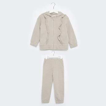 Juniors Striped Jacket with Full Length Jog Pants