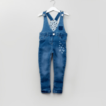 Juniors Printed V-Neck Denim Dungarees