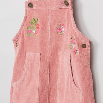 Juniors Embroidered Pocket Detail Pinafore Dress
