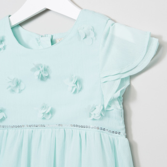 Juniors Flower Applique Round Neck Dress