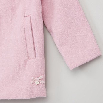 Eligo Bow Detail Long Sleeves Melton Coat