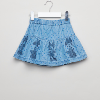 Minnie Mouse Printed Denim Skirt with Elasticised Waistband