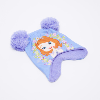 Sofia the Princess Printed Beanie Cap with Pom-Pom Detail