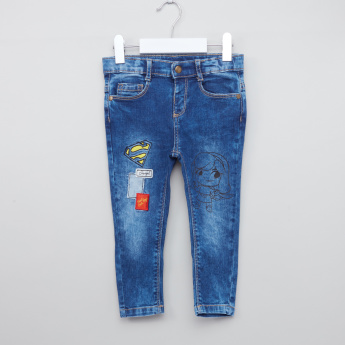 Supergirl Printed Pants with Embroidery and Pocket Detail