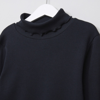 Juniors Ribbed Turtleneck T-Shirt