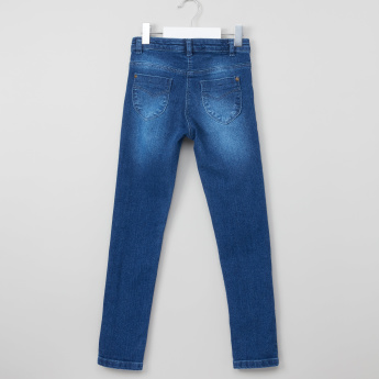 Juniors Full Length Faded Jeans with Button Closure