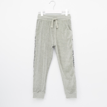 Juniors Sequin Tape Velour Joggers