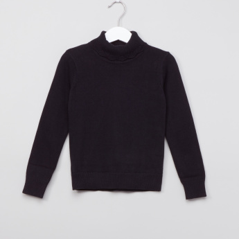 Juniors Textured Turtleneck Long Sleeves Sweatshirt