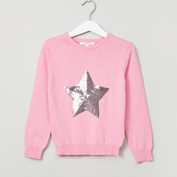 Juniors Sequin Detail Long Sleeves Sweatshirt
