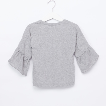 Juniors Ruffle Detail 3/4 Sleeves T-Shirt