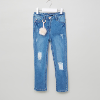 Juniors Distressed Jeans with Pocket Detail and Button Closure