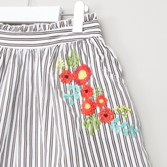 Juniors Black and White Cord Skirt with Embroidery