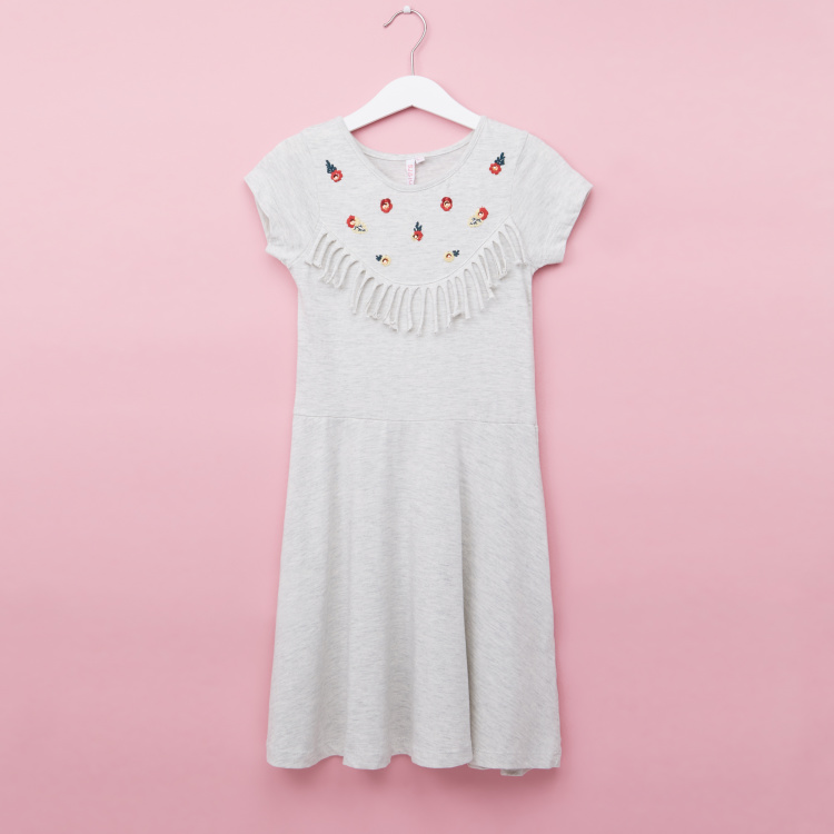 Juniors Embroidered Round Neck Dress with Tassels