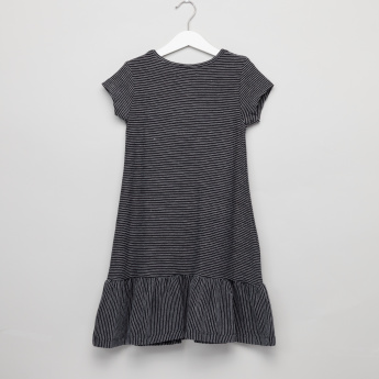 Juniors Striped Round Neck Dress